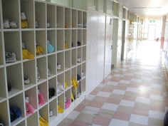 Shoe boxes are inside the door of Japanese schools so they can change between shoes and school slippers. https://www.youtube.com/watch?v=KcfGhcL9xcw