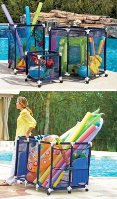 These mesh pool toy storage bins are large enough to hold everything from pool noodles to inflated large rafts. Casters allow you to roll them around where you want them. Pool Float Storage, Pool Toy Storage, Toy Storage Bins, Outdoor Storage, Storage Ideas, Storage Containers, Large Toy Storage, Scooter Storage, Backyard Storage