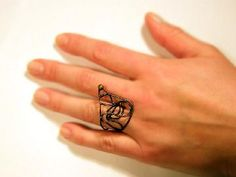 Copper wire  ring with brass granule tattoo ring metalwork sculptural organic jewelry. Free shipping