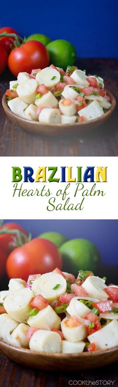 Brazilian Hearts of Palm Salad, made with canned hearts of palm (so easy!), chopped tomatoes, two kinds of onions and a simple lime dressing. -  Get this great side dish recipe on COOKtheSTORY.com