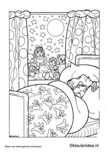 Kleurplaat slapende meisje, kleuteridee.nl , sleeping girl coloring.