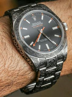 Rolex Milgauss 116400 Engraved By MadeWorn. Love the engraving, but not all that excited about Rolex watches. Amazing Watches, Beautiful Watches, Cool Watches, Men's Watches, Mens Watches Rolex, Black Watches, Datejust Rolex, Watch Engraving, Hand Engraving