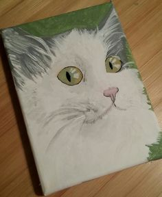 Grey and white cat, acrylic on canvas. Feb. 19th, 2017