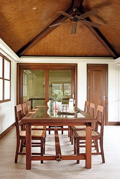"""A couple finds contentment in an enclave designed by Architect Francisco """"Bobby"""" Manosa and his children Filipino Architecture, Philippine Architecture, Bungalow House Plans, Bungalow House Design, Dining Room Design, Dining Area, Dining Table, Modern Filipino Interior, Bahay Kubo Design"""