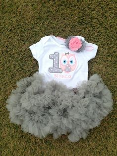 Light pink & grey polka dot owl birthday outfit 1st birthday shirt headband grey tutu petti skirt custom personalized owl birthday shirt on Etsy, $42.00