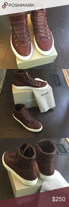 DIEMME Marostica Mid in Burgundy Napa Size 46 US12 US size 12. Perfect condition worn ONCE. AUTHENTIC DIEMME comes with duster bag and box. Marostica Mid silhouette is cut higher than the original, maintaining the hiking inspired details in the durable D-ring lacing and gusseted leather tongue with latex padding that will help keep water from penetrating the top of the shoe. Handmade in Italy, brothers Maico and Dennis Signor launched Diemme in 1992. Hiking Lacing. Hardware. Leather Lining…