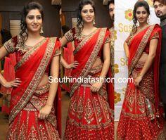 Heavy Work Bridal Half saree ~ Celebrity Sarees, Designer Sarees, Bridal Sarees, Latest Blouse Designs 2014 South India Fashion