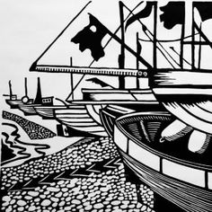 Hastings Beach | Linocut | Lino Print