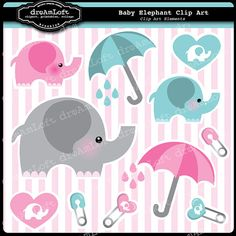 Elephant Clip Art for Baby Showers and Birthdays! #elephant #baby #shower #cute #umbrella $4.99