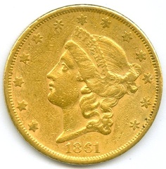 1861 s San Francisco Mint Twenty Dollar Gold coin