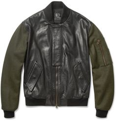 McQ Alexander McQueenContrast-Sleeve Padded Leather Bomber Jacket|MR PORTER