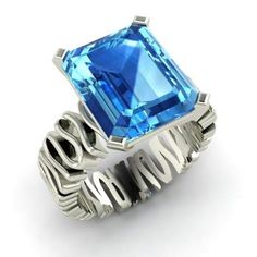 Emerald-Cut Blue Topaz Ring in 14k White Gold