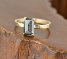 1.84 Carat Black Diamond Engagement Ring by PointNoPointStudio