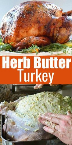 The Best Turkey Recipe for Thanksgiving rubbed with herb butter, covered in chee. - The Best Turkey Recipe for Thanksgiving rubbed with herb butter, covered in cheesecloth and basted - Best Turkey Recipe, Turkey Recipe Butter, Best Roasted Turkey, Roast Turkey Recipes, Baked Turkey, Pumpkin Recipes, Moist Turkey, Herbed Butter For Turkey, Whole Turkey Recipes