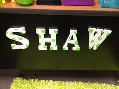 Classroom DIY: Magnetic Names  http://www.classroomdiy.com/2012/08/magnetic-names.html