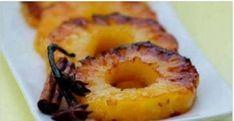 """É possível uma sobremesa contribuir para a perda de peso?É sim.E a prova disso é o assado de abacaxi.O """"astro"""" da receita, o abacaxi, é o responsável pela proeza."""