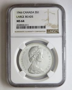 Item specifics     Year:   1966   Certification:   NGC     Grade:   MS 64      1966 S$1 Canada Silver Dollar Large Beads NGC MS 64 Business Strike    Detailed item info        Product Identifiers   PCGS...