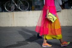 from Stylebubble.co.uk SOS x Molly Goddard dress, Filles a Papa clutch, Merchant Archive pink top and mustard trousers underneath, Nike Free Flyknits, Michael Kors bag