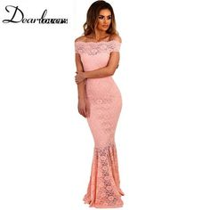 Elegant Off-the-Shoulder Lace Fishtail Evening Gown - Sizes S-L.  Available in 5 colors.  $42.95