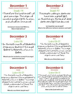 Bible Verse Advent Cards - FREE PRINTABLES | Each day, Advent ...
