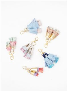 Leather tassel key chains / key fobs / zipper charms - Choose your color - Ready to Ship (18.00 USD) by DDSLLGirlsStore