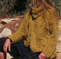 Mustard yellow chunky knit sweater by ileaiye on Etsy