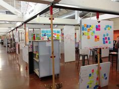 Example of movable, stackable boards -  Useful for many teams needing to save their work - Stanford d.school