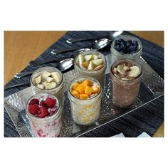 Overnight, No-Cook Refrigerator Oatmeal A healthy breakfast made in mason jars in six different flavors! These were some great recipes! I didn't use chia seeds like she does because I'm not dieting and they are expensive! But the 6 I tried were yummy!