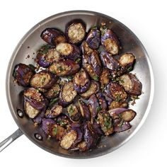The subtle Asian flavors of garlic and ginger combine with sautéed eggplant to create a wonderfully textured dish that you'll want to make again and again. Serve over jasmine rice … - Garlicky Stir-Fried Eggplant - Recipe - FineCooking Fried Eggplant Recipes, Japanese Eggplant Recipes, Eggplant Stir Fry, Cooking Eggplant, Baked Eggplant, Veggie Dishes, Vegetable Recipes, Salads, Kitchens