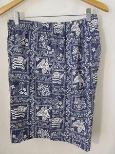 Reyn Spooner Lahaina Sailor Mens Shorts Blue Reverse Print Draw String Elastic  #ReynSpooner #CasualShorts