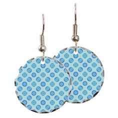 Round earrings retro pastel blue circles #cafepress #earrings #jewelry #style