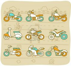 Illustration of Hand drawn Motorcycle,transportation,motorbike,car icon set vector art, clipart and stock vectors. Icon Cars, Icon Set, Black Panther Drawing, Motorcycle Icon, Bike Drawing, Motorcycle Stickers, Cute Easy Drawings, Hands Icon, Stencils