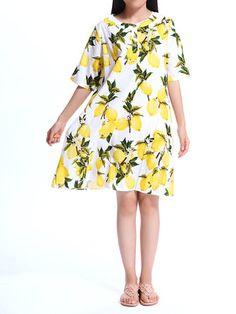 Loose Women Lemon Printed Fruits Printed Party Straight Dress