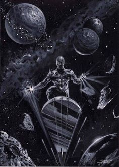 Silver Surfer commission by LucaStrati Marvel Comic Universe, Marvel Comics Art, Marvel Comic Books, Comics Universe, Comic Book Heroes, Marvel Heroes, Marvel Characters, Comic Books Art, Comic Art