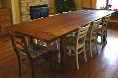 Ana White's web site is full of easy to follow plans for almost any type of furniture a family might need. Our family is now up to 8 when everyone is here and hopefully we will have lots of new additions one day. This farmhouse table would be perfect!