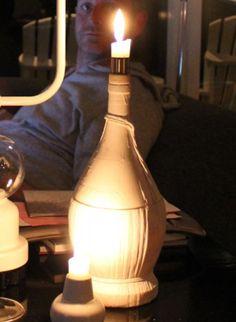 Lav selv #lysestager af #vinflasker