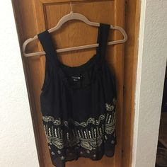 Sheer Black Boho Top with design Black Sheer Boho Top with beautiful design stitching on bottom. Also has ties with black tassels on the bottom. Size small from forever 21 Forever 21 Tops Blouses
