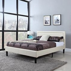 Classic Deluxe Bonded Leather Low Profile Platform Bed Frame with Curved Headboard Design and Button Details  Fits Queen Mattresses  Ivory -- To view further for this item, visit the image link.