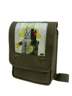 vintage toy robot khaki green Messenger Bag / by CraftieRobot, $23.00