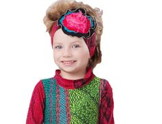 "Zaza Couture Girls Shawna Headband, Red. L= 21 1/2"" unstretched. 96% viscose/4% elastane except for applique."