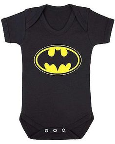 BATMAN New Born Baby Bodysuit Vest Clothes unisex SUPERHERO COMICS DARK KNIGHT