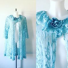 1960s Blue Lace Robe