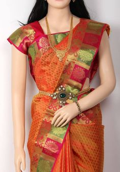 Yellow Colored all over Small Thread Butta Designed Body Fancy Tested Jari Pure Silk Saree with Fancy Green with Pink Colored Jari Border and Pink Colored Blouse Part @ Rs.11390 http://www.shreedevitextile.com/women/sarees/silk-saree/shree-devi/yellow-colored-pure-silk-saree-1011