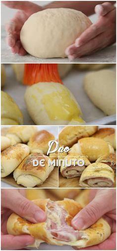 PÃO CASEIRO SUPER FOFINHO | RECEITA FÁCIL E RÁPIDA | PÃO DE MINUTO | #pão #caseiro #fácil #queijo #presunto #receita #gastronomia #culinaria #comida #delicia #receitafacil