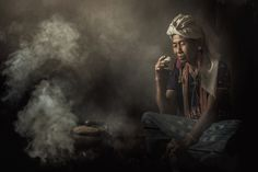 Woman in traditional costumes at Karen drink coffee. - Woman in traditional costumes at Karen drink coffee in Chiang Mai, Thailand. Portrait Photo, Portrait Art, Indian Photoshoot, Photo D Art, Buddha Art, Women Smoking, People Of The World, National Geographic Photos, Interesting Faces
