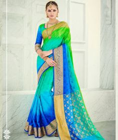 Buy Blue Banarasi Silk Wedding Saree 71241 with blouse online at lowest price from vast collection of sarees at Indianclothstore.com.