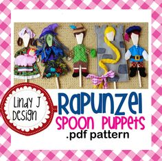 Rapunzel Wooden Spoon Puppets .PDF Pattern. $10.00, via Etsy.