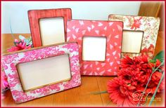 Frames covered with scrapbook paper #modpodge