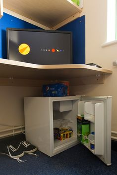 Glamorgan Court: There is a mini fridge in every bedroom. This is where you keep your fresh food. There's also a small freezer compartment.