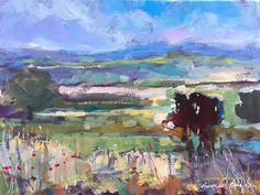 Signed Original Acrylic Painting -Towards the Pennines - by Annabel Burton